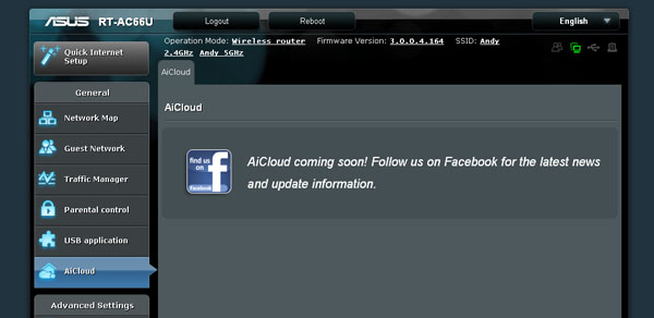The AiCloud option isn't accessible since the mobile apps for Android and iOS aren't available as yet. There is a disclaimer requesting users to follow ASUS on Facebook for more updates though.