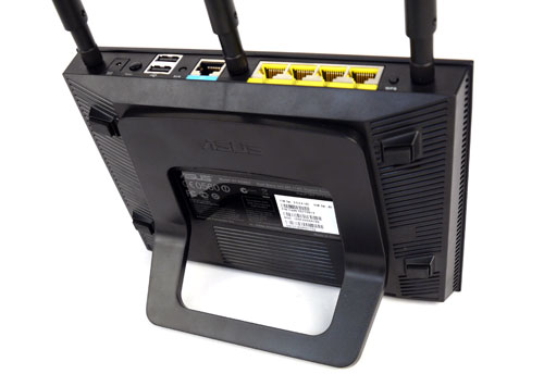 The router can be propped up in a semi-vertical fashion with the aid of an L-shaped bracket. Such a setup also makes it easier to access the router's IO ports.