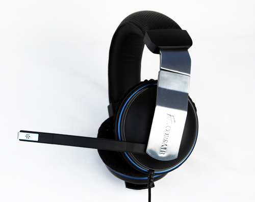 The Corsair Vengeance 1500 is a USB gaming headset that comes with an attached microphone.
