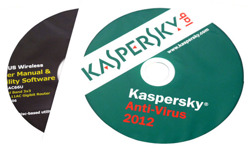 A copy of Kaspersky's Anti-Virus 2012  (valid for one-year), as well as a CD containing the user manual and utilities are bundled together with the RT-AC66U.
