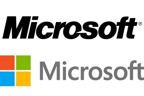 The old and new Microsoft logos side by side. Source: microsoft.com