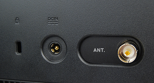 On the left side of the rear panel, there's a Kensington lock slot, DC-in to power the machine and also the antennae coaxial jack for using the integrated TV tuner.