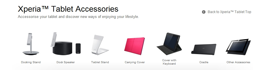The range of accessories for the Sony Xperia Tablet S. <br> Image source: Sony