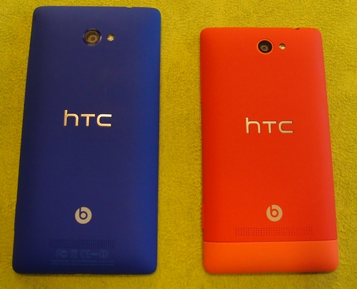 The Windows Phone 8S (right) for HTC comes in slightly dressier colors as you can see from the picture above. Shades include Domino, Fiesta Red, Atlantic Blue and High-Rise Gray. Only red and blue variants will be available in Singapore.