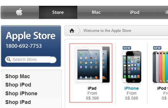 The Apple iPad is listed at S$398. Could this be a typo? Or could the pricing be referring to the alleged iPad Mini?