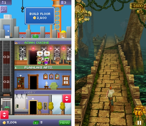 Portrait games like Tiny Towers and Temple Run play better on the iPhone 5 due to the increased real estate.