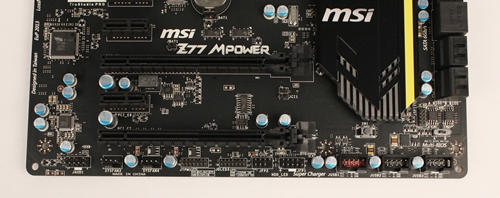 From the left are the front panel headers for audio, TPM, and system fan power connectors. The USB 2.0 and 3.0 expansion headers are to the right. They allow the connection of additional USB devices with their corresponding USB brackets (which are provided in the package). With MSI's SuperCharger application installed on the operating system, these connectors will provide quicker USB charging.