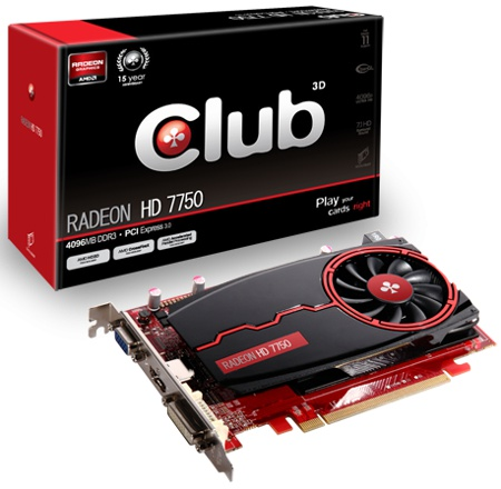 Club 3D Radeon HD 7750 4GB DDR3 (Image source: Club 3D)