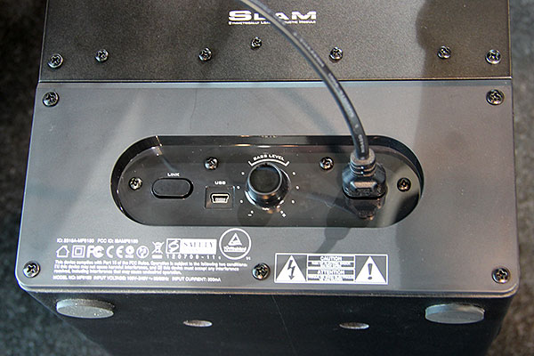 Here's a view of the rear of the wireless subwoofer.