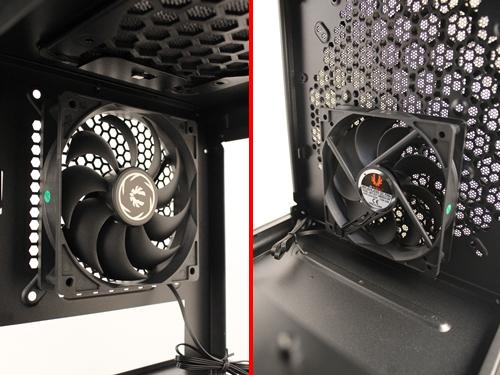 The rear 120mm cooling fan has a simple silver BitFenix insignia in its center; while its front counterpart can only be seen clearly after the removal of both 3.5-inch HDD cages.