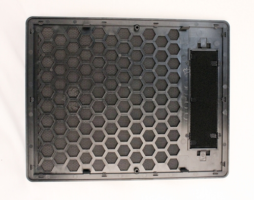 There are numerous hexagon cut-outs for vents and we like the added dust filter for the 5.25-inch drive bay cover to prevent dust for entering the chassis when the drive bay is unused.
