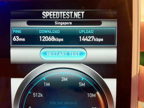 An indoor speed test done at M1's flagship shop in Paragon.