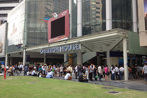 Look at the number of people queuing at the M1 branch at Chevron House. This was at 9 am, and there was easily 120 people in the queue.