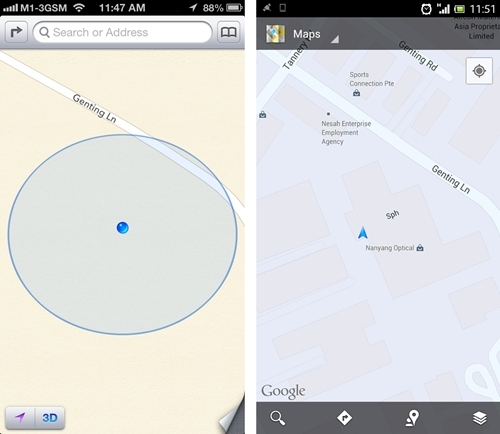 Where ARE we exactly, Apple? (Left: iOS 6 Maps app, Right: Googles Maps on Android)