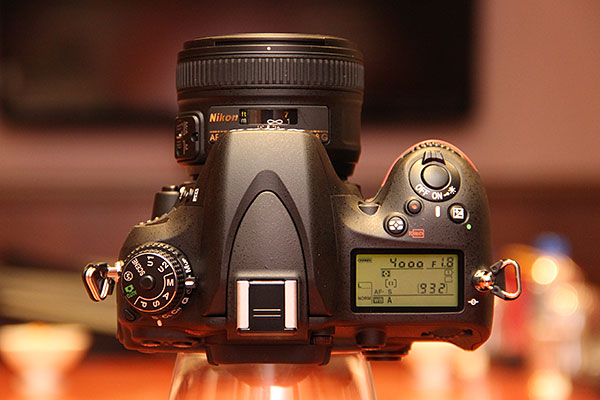Here's a top view of the D600. The D600's shutter speed tops out at 1/4000 of a second.