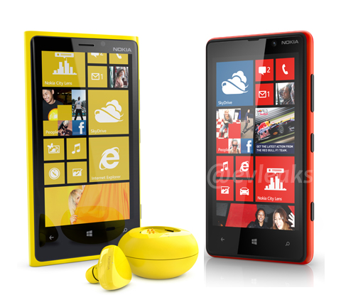 Nokia is expected to launch the Lumia 920 and 820 at an event tomorrow. <br>Image source: @evleaks