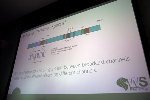 Here's a graphical representation of what TV White Spaces is. In a nutshell, they are unused TV broadcast bands which can be tapped for alternate wireless broadband services.