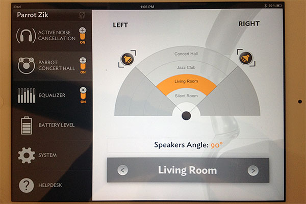 You can change the acoustics and spatialization thanks to the Parrot Audio Suite app.