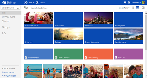 SkyDrive is Microsoft's own cloud storage service, and it will work across not just Windows 8 systems, but also Android, iOS, and Windows Phones devices.