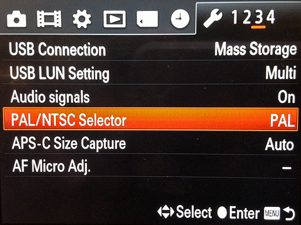 You can switch from PAL to NTSC (and vice versa) in the menu.
