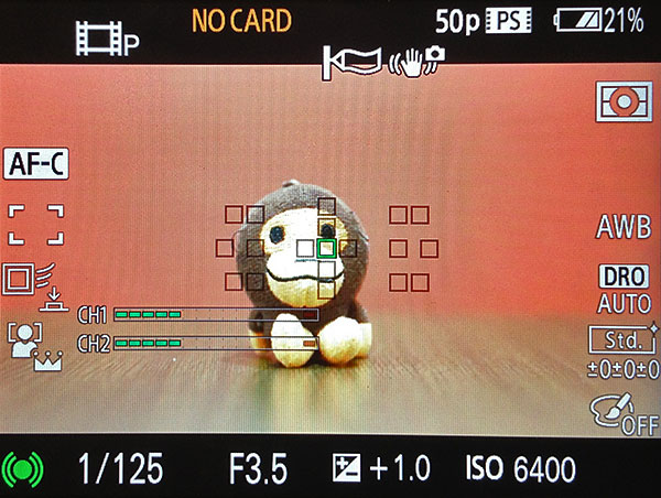 Even during video recording, you can monitor and adjust the audio recording level.