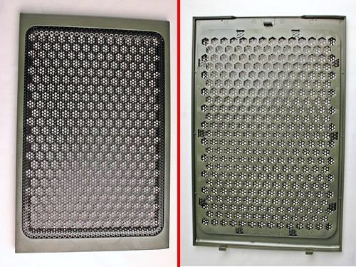 The removable wire mesh cover of the top 230mm cooling fan. The wire mesh is held in place by ten wire tabs that can be pried straight so that the wire mesh can be thoroughly cleaned and even replaced.