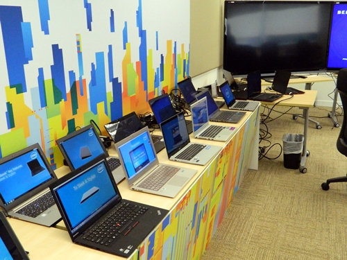 The Intel Ultrabooks from different manufacturers on display at the media update.