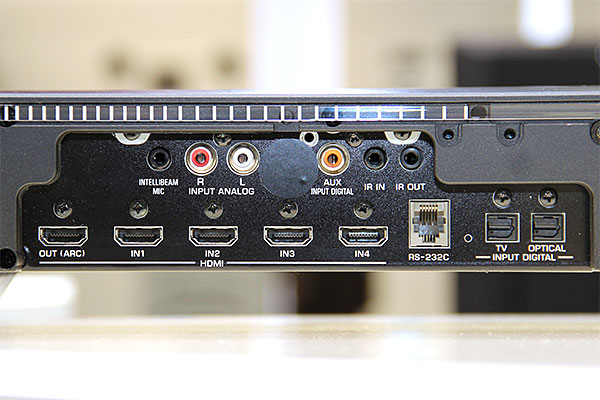 Here's a closer look at the connections available. There's no shortage of HDMI ports: you've 4 inputs and 1 output, and they support 4K2K, 3D, CEC, and ARC.