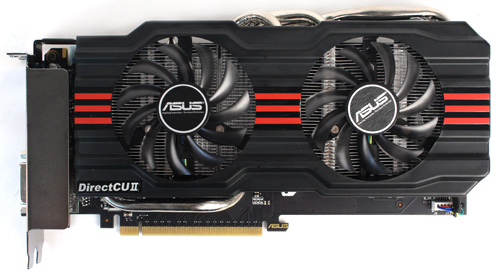 The ASUS GeForce GTX 660 is the largest of our cards, measuring 267 x 145 x 35mm. It's still quite compact though, and easily fits within two slots.