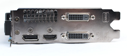 Ports are the same as stock, with one DVI-I, one DVI-D, one HDMI port, and one DisplayPort port. Like all other cards, it uses one 6-pin Molex PCIe power connector (though it's not visible from these photos).