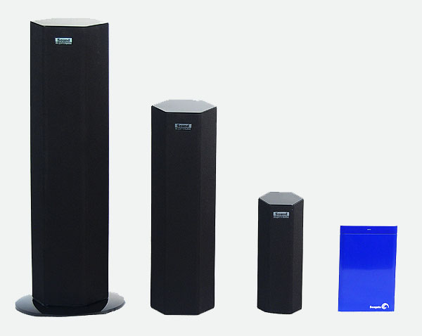 A side by side comparison of the models in the Sound BlasterAxx lineup. The smallest SBX 8 model is no bigger than a 2.5-inch portable hard drive.