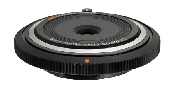 The BCL-1580 is a slim camera body cap which doubles as a 30mm f/8 lens which you can use in a pinch.