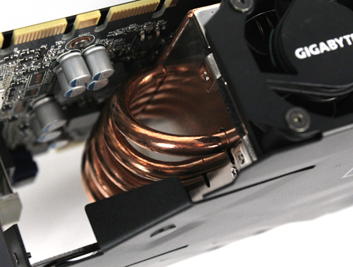 The huge heatsink uses five copper heatpipes connected to...