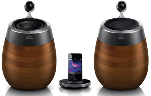 The new Philips Fidelio SoundSphere with wood grain finish.