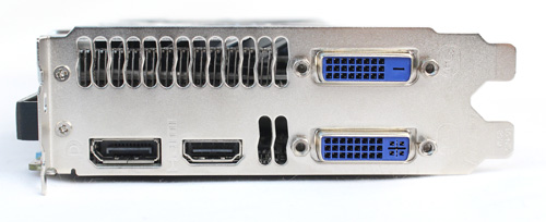Port layout is the same as the reference card with one DVI-I port, one DVI-D port, one HDMI port, and one DisplayPort port. Like the reference card, it uses one 6-pin Molex PCIe power connector.