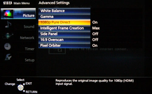 "The ""1080p Pure Direct"" feature may prove elusive with 4:2:2 sources. If your Blu-ray player has the option to enable a 4:4:4 color space, do ensure it's on."