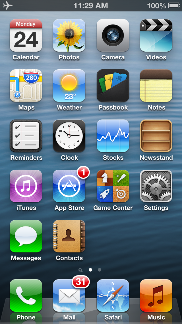 Other than iOS 6, the iPhone 5 also gets an extra row of icons due to its longer 4.0-inch screen.