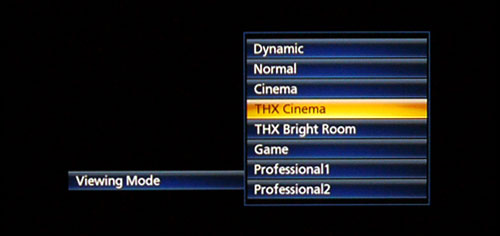 The VT50S features a total of eight picture presets. Note that the Professional modes are only available after the ISFccc function is enabled under the Setup menu.