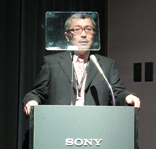 Mr Katsuya Nakagawa, Senior General Manager of Sony Corporation's Personal Entertainment Division within the Personal Imaging & Sound Business Group, giving a short presentation during the launch event.
