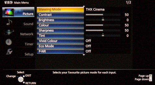 These are some of the default picture settings under the THX Cinema mode. We'll see how far this deviates from our calibrated settings in just a moment.