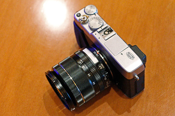 The Fujifilm X-E1 with the new f/2.8-f/4 18-55mm kit lens.