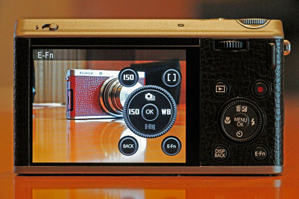 When you press the E-Fn button, the camera's physical buttons are reflected on the LCD but with different functions. Pressing the buttons now will activate the secondary function.