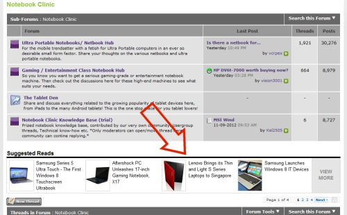 Here's the same related articles function working in the forum to bring you content relevant to the forum discussions.