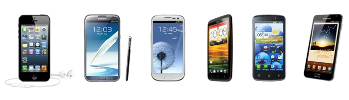 From left to right: Apple iPhone 5, Samsung Galaxy Note II (LTE), Samsung Galaxy S III (LTE), HTC One XL, LG Optimus True HD LTE, Samsung Galaxy Note (LTE)