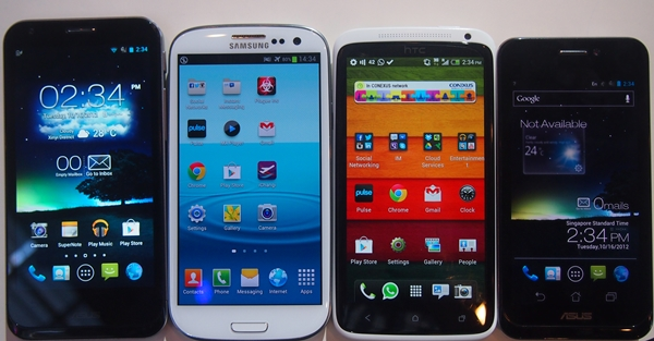 From left to right: ASUS PadFone 2, Samsung Galaxy S III, HTC One X and the PadFone.