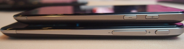 The Power button is shifted to the right side of the ASUS PadFone 2 (bottom). Buttons retain the same tactile feel, which makes them easy to feel. Both PadFones sport tapered designs.