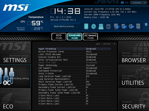 The MSI UEFI BIOS utility has a pleasant black-and-blue hue and we like its well-organized menu layout. The temperature readings for the CPU and motherboard were very helpful especially during our overclocking exercise.