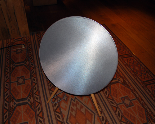 The BeoPlay A9 speaker's unique looks are sure to be a conversation starter. Here you can see the product pretending to be a satellite dish.