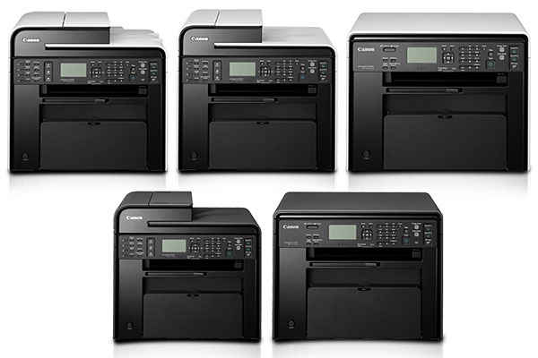 From top: The Canon Imageclass MF4890dw, MF4870dn, MF4820d, MF4750, and MF4720w mono laser MFPs.