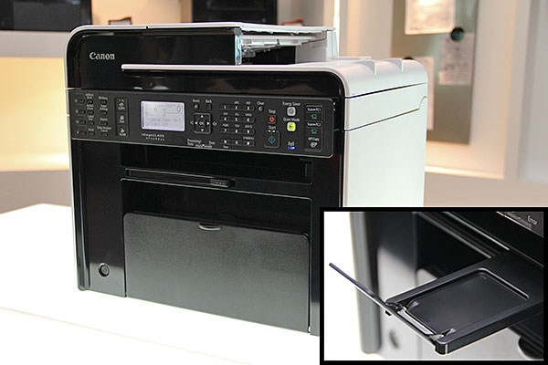 The printers can be positioned in a corner comfortably due to the lack of protruding parts. Even the extendable output tray (inset image) can be tucked into the body.